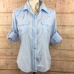 Gap Baby Blue Button Up pearl snaps Shirt M